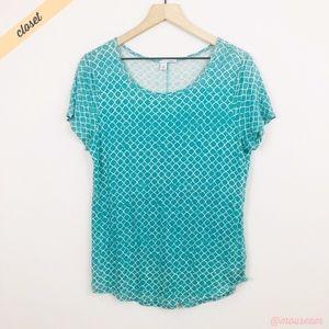 [Halogen] Teal Short Sleeve Modal Linen Tee Shirt